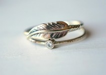 feather moissanite ring