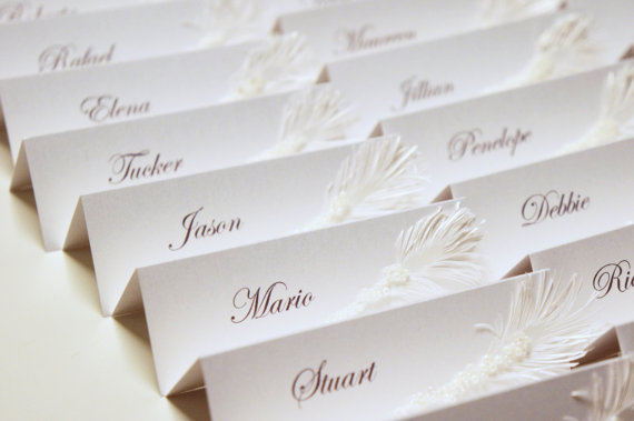 feather place cards