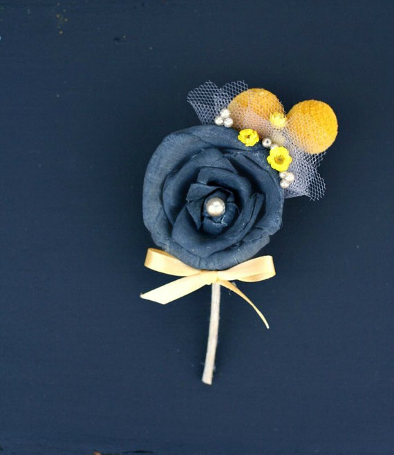 charcoal grey boutonniere sola flower