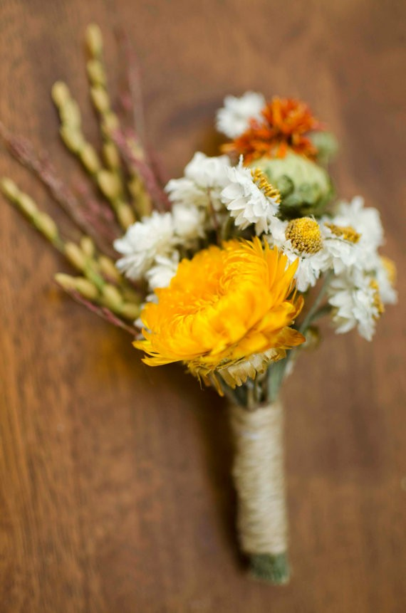 golden dried flower rustic boutonniere