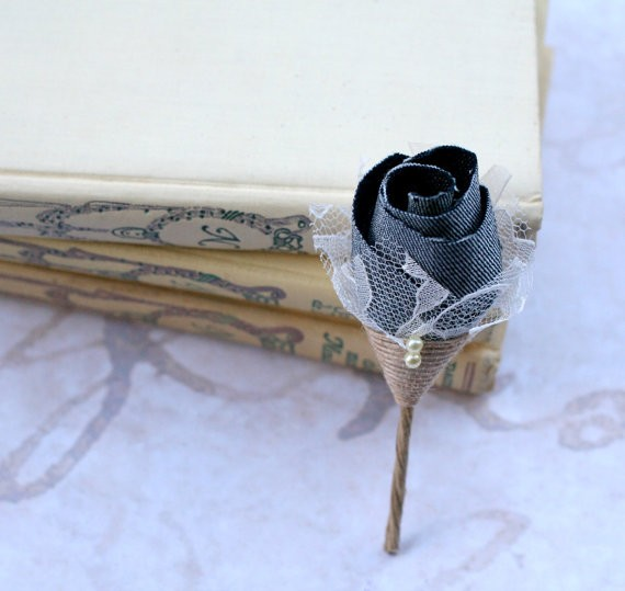 lace and denim boutonniere