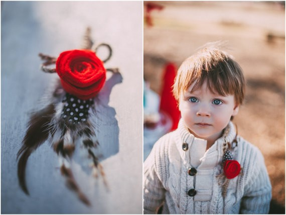 red rose feather boutonniere