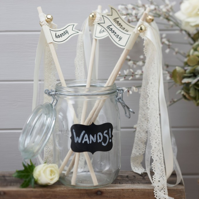 hooray ribbon wands in mason jar