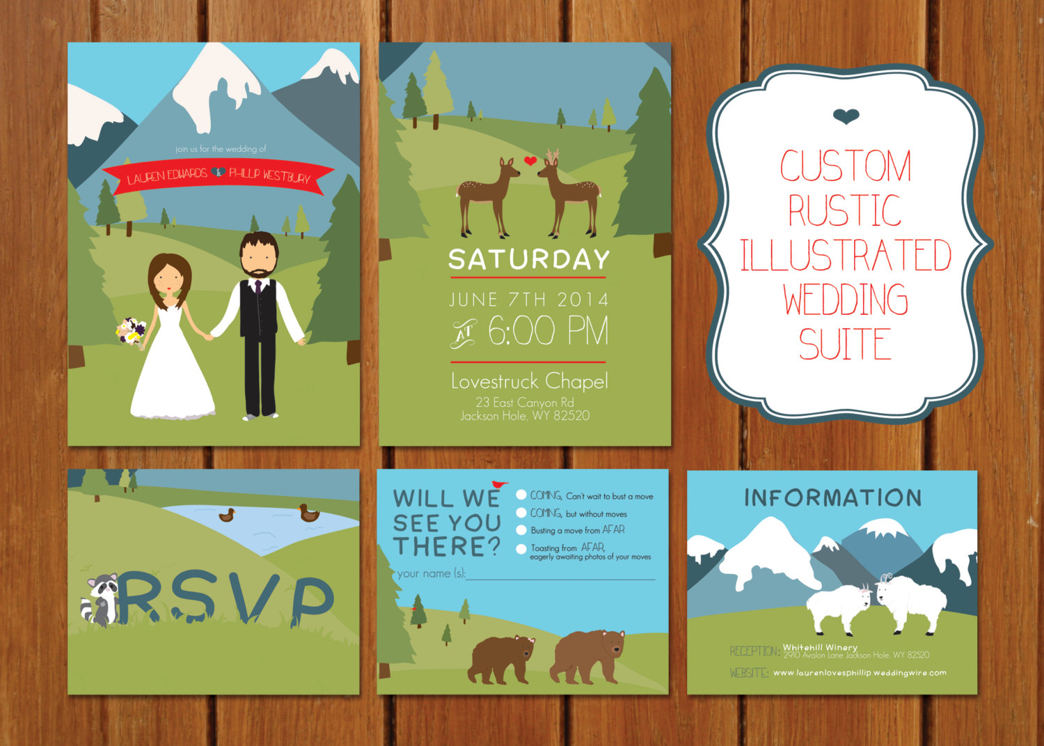 mountain invitations illustrated by BisforBrown