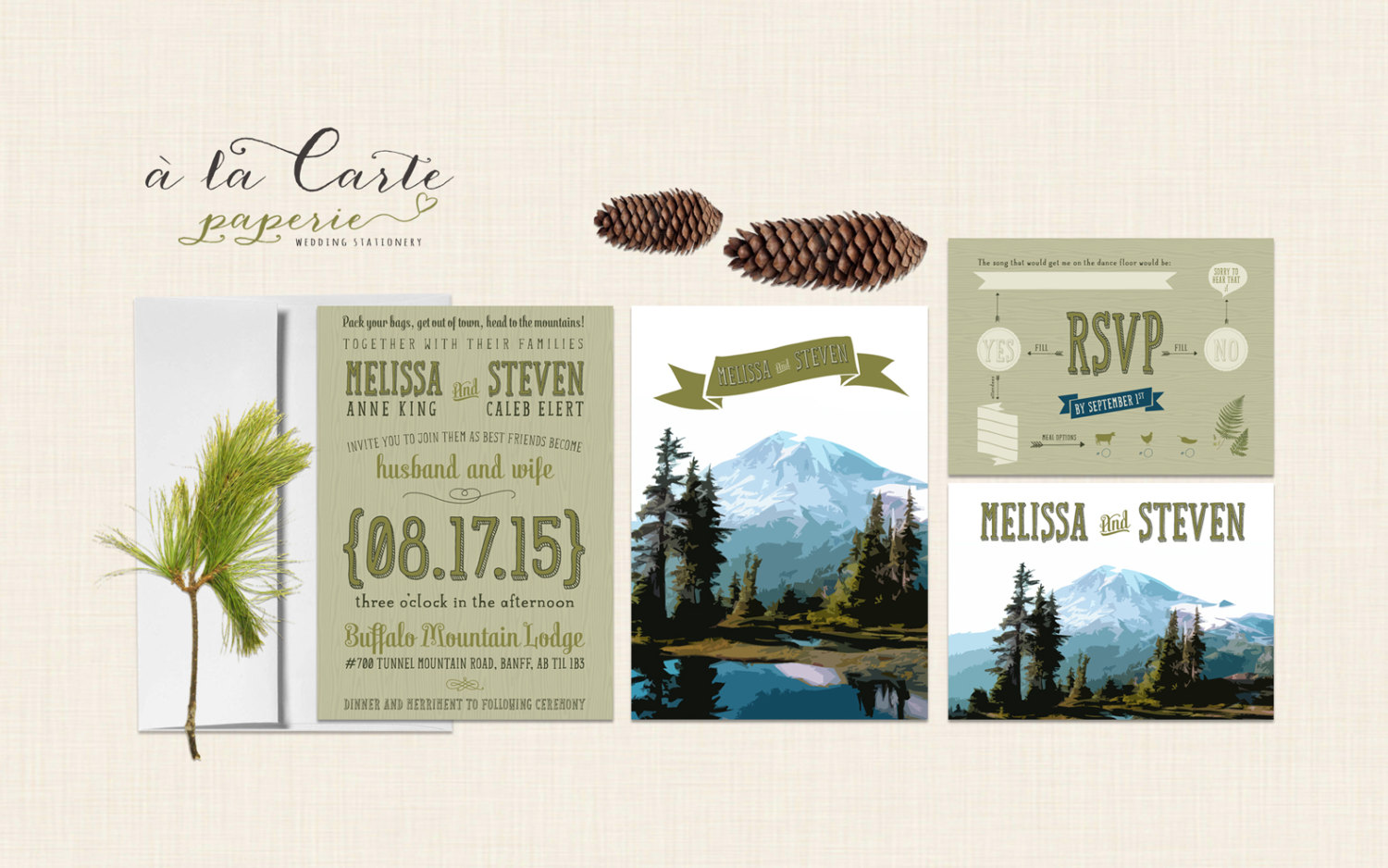 mountain wedding invitatons by alacartepaperie