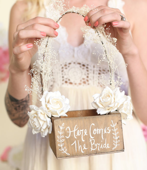 here comes the bride flower girl basket by bragging bags