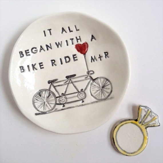 it all began with a bike ride ring dish