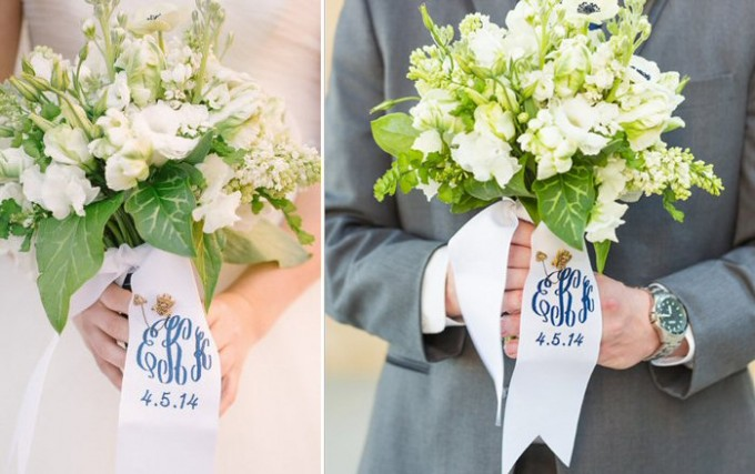 monogrammed bouquet ribbons | by oatmeal lace design | photo: lauren rosenau photography | http://emmalinebride.com/2015-giveaway/bouquet-ribbons/
