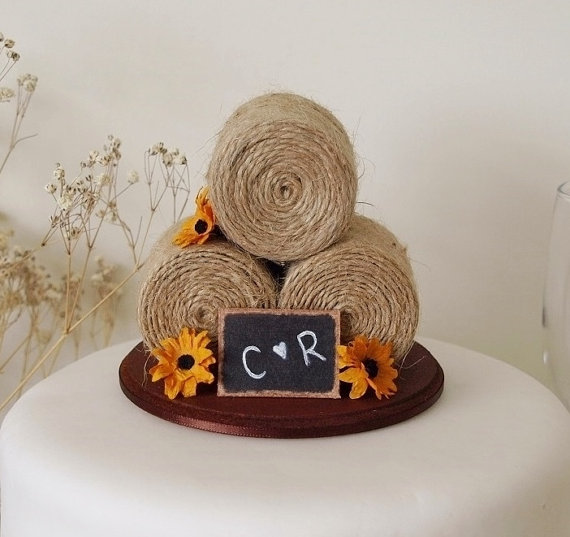 sunflower hay bale cake topper by TiaLovesArchie | barn reception ideas for weddings via http://emmalinebride.com/reception/barn-ideas-weddings/ ‎