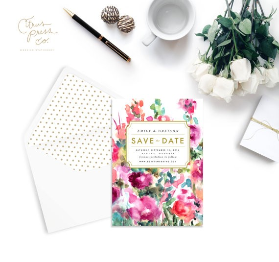 watercolor save the date with polka dot envelope