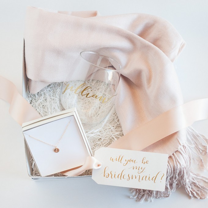 Ultimate Bridesmaid Gift Box   by Deighan Design   http://emmalinebride.com/gifts/bridesmaid-gift-box/