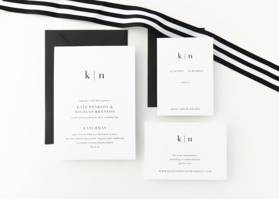 black and white simple wedding invitations