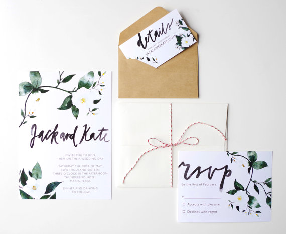 brush lettering wedding invitations