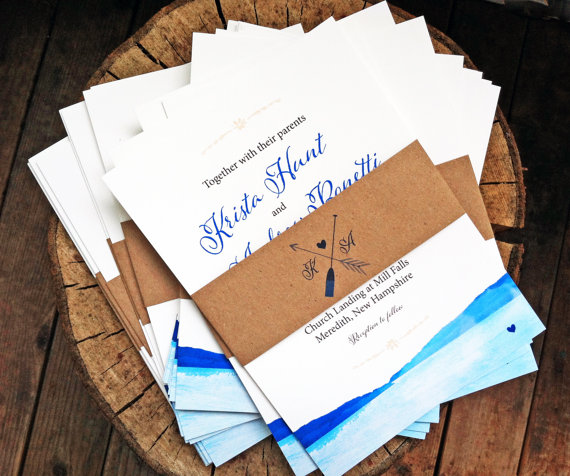 by the lake wedding invitations