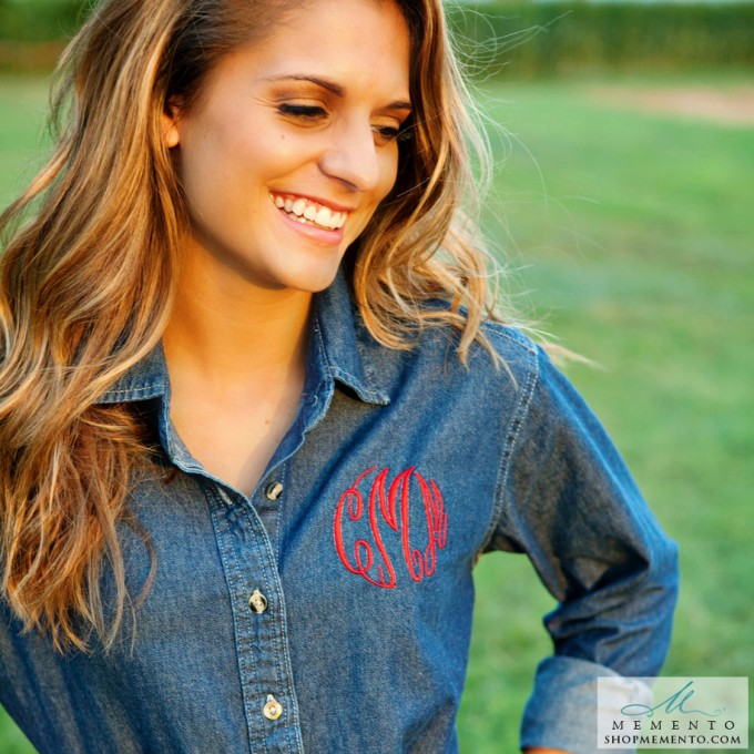 denim monogrammed button down shirt