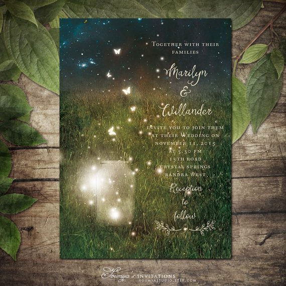 garden mason jar lights wedding invitations