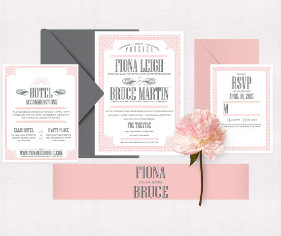 grey and pink vintage suite