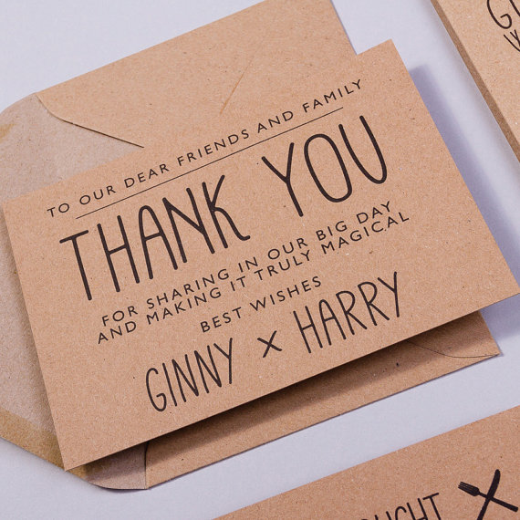 harry potter wedding thank you cards