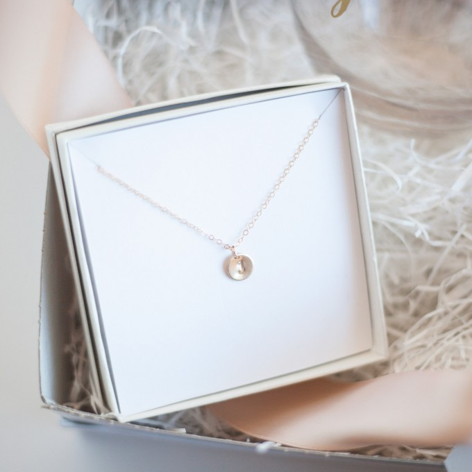 initial necklace in Bridesmaid Gift Box | by Deighan Design | http://emmalinebride.com/gifts/bridesmaid-gift-box/