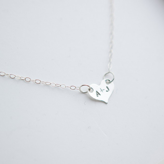 initials necklace | Bride Gift Box | by Deighan Design | http://emmalinebride.com/gifts/bridesmaid-gift-box/