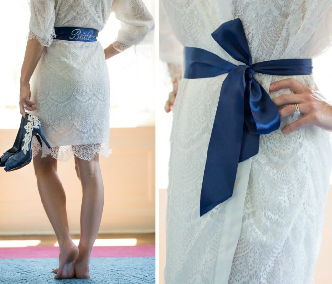 lace robe with bride sash