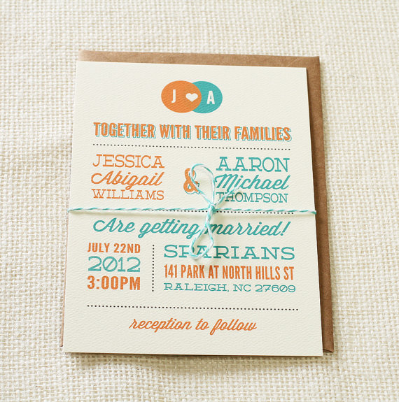 modern venn diagram wedding invitations