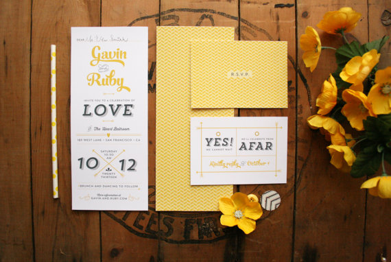 modern yellow wedding invitation suite