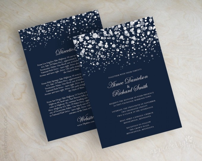 navy blue glitter wedding invitations via 50+ Best Wedding Invitations // via http://bit.ly/2yB6Ful