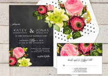 spring botanical chalkboard polka dot wedding invitations
