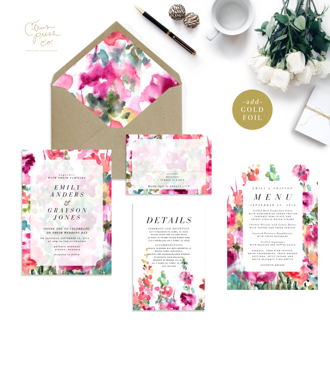 spring garden wedding invitations | 6 Floral Botanical Invitations for Spring Weddings http://wp.me/p1g0if-yOx by Citrus Press Co.