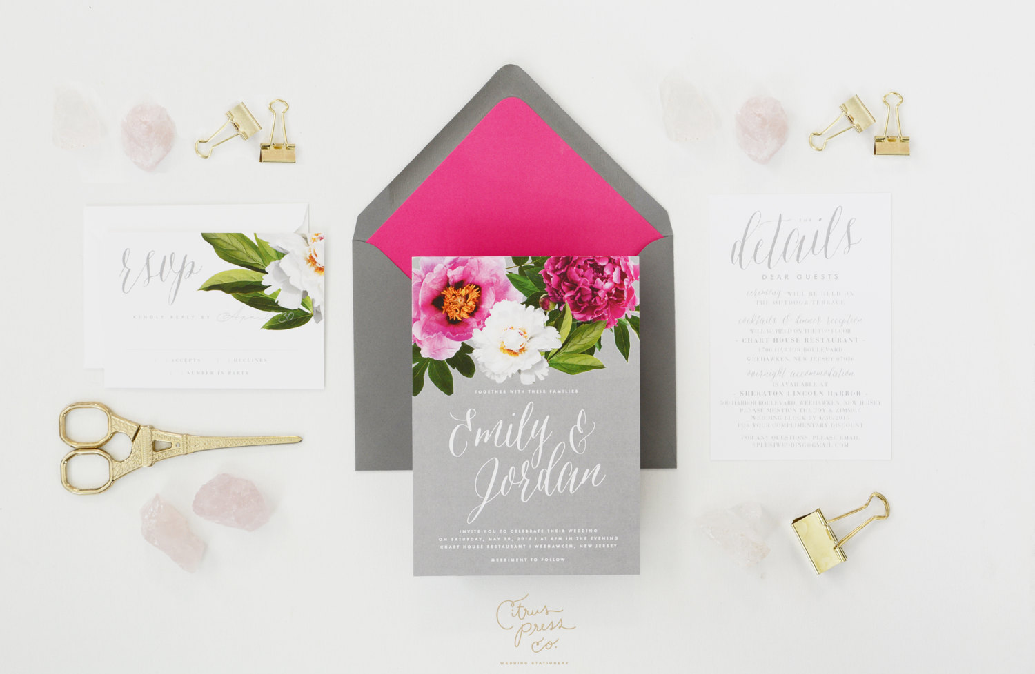 spring peony wedding invitations | 6 Floral Botanical Invitations for Spring Weddings http://wp.me/p1g0if-yOx by Citrus Press Co.