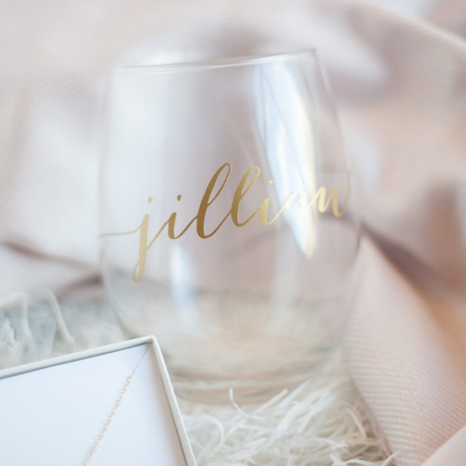 stemless wine glass in Bridesmaid Gift Box   by Deighan Design   http://emmalinebride.com/gifts/bridesmaid-gift-box/