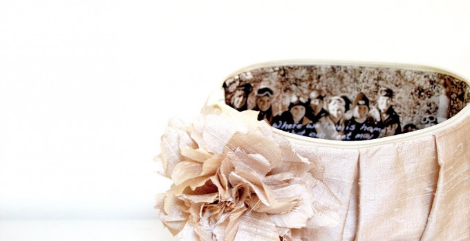 wedding clutch with bridesmaids photo inside
