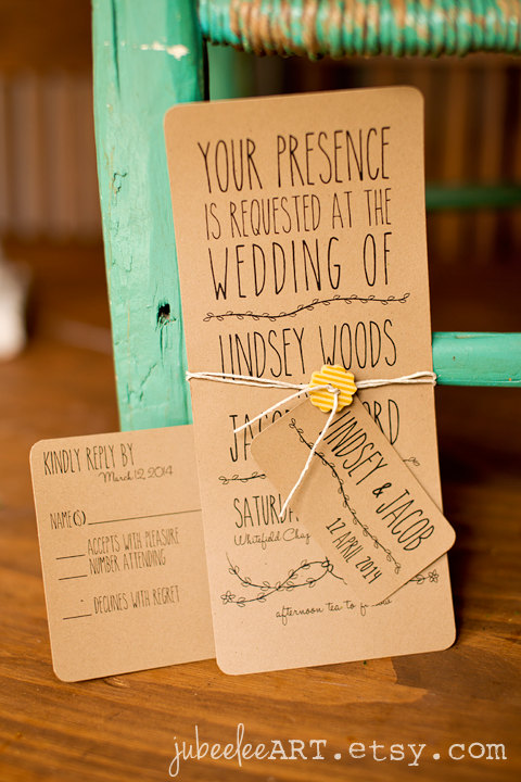 whimsical woodland boho wedding invitation