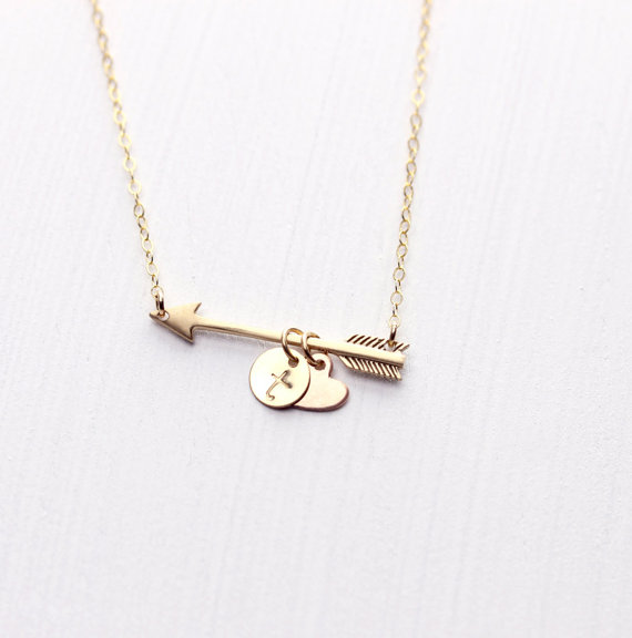 arrow heart and chaarm necklace by layersofhumanity