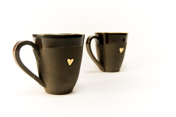 black coffee mug with heart