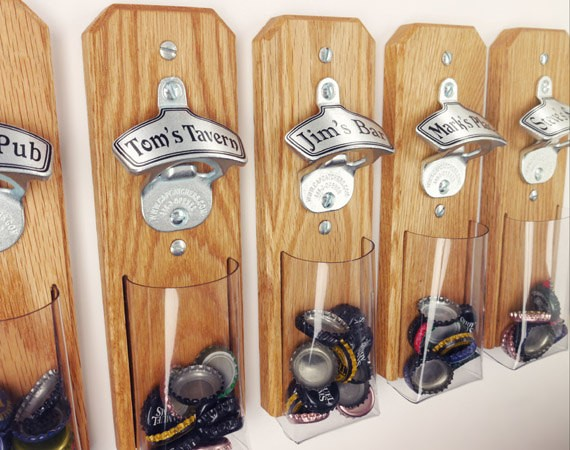 Cool wall mount bottle openers for groomsmen gifts. By Capcatchers.
