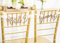 bride groom wedding chair signs on chiavari chairs