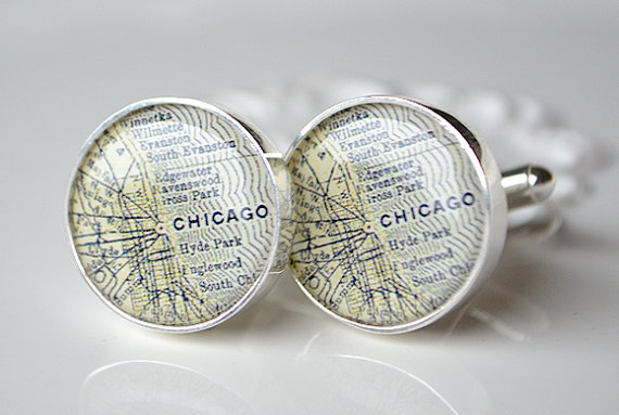 chicago map cufflinks | travel themed wedding ideas: http://emmalinebride.com/themes/travel-theme-wedding-ideas/