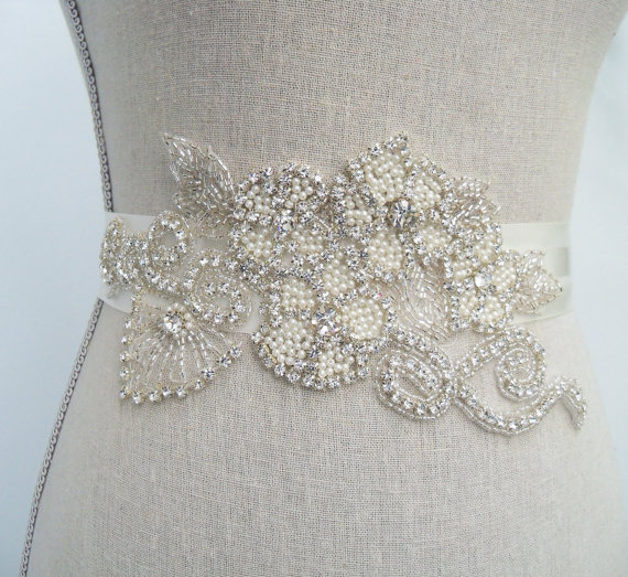 crystal bridal belt with applique by SparkleSMBridal | via Should I Add a Sash to My Dress? on Emmaline Bride | http://emmalinebride.com/bride/should-i-add-sash-to-wedding-dress/