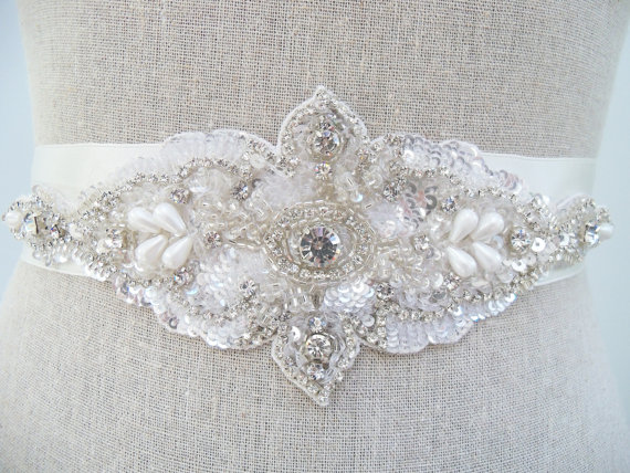 crystal rhinestone sash by SparkleSMBridal | via Should I Add a Sash to My Dress? on Emmaline Bride | http://emmalinebride.com/bride/should-i-add-sash-to-wedding-dress/