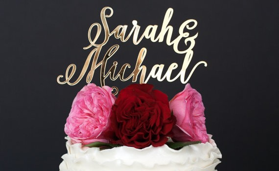 custom gold cake topper