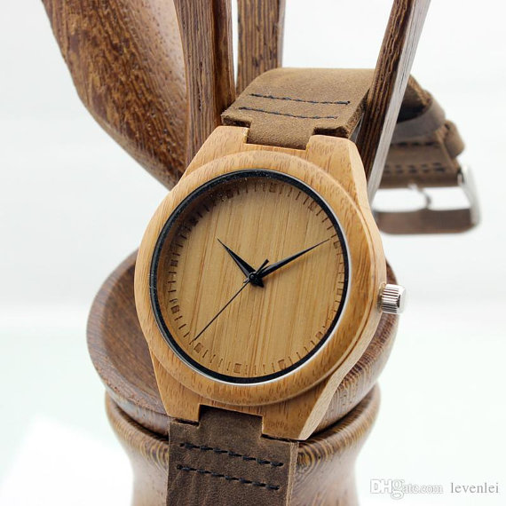 engraved mens wooden watch made of bamboo by paperonly