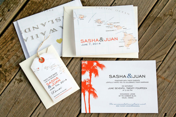 hawaiian island travel theme wedding invitations | travel themed wedding ideas: http://emmalinebride.com/themes/travel-theme-wedding-ideas/