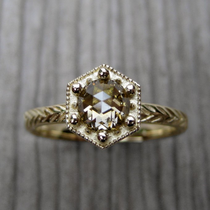hexagon engagement ring by kristincoffin