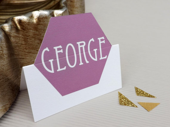 hexagon honeycomb wedding place cards by ljpaperandstyling