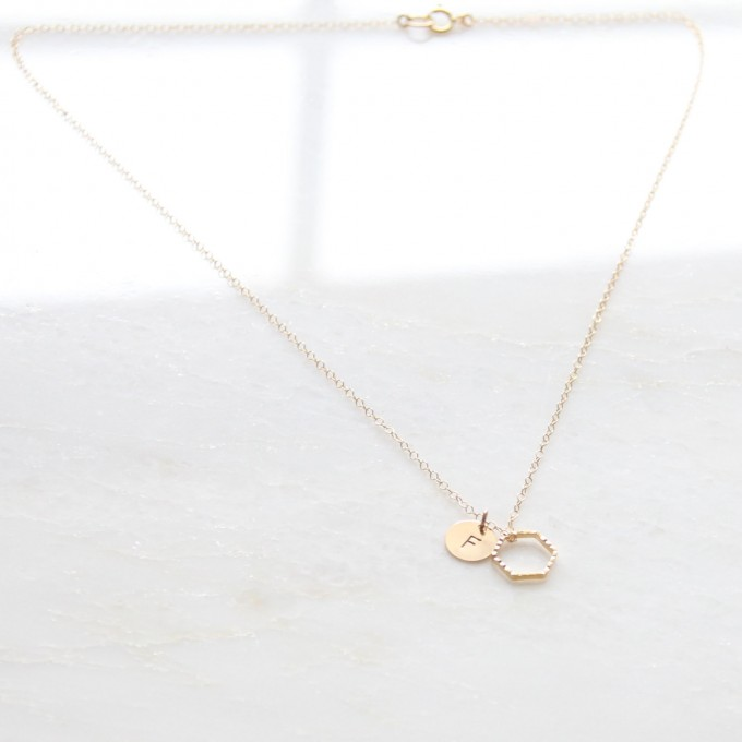 hexagon necklace with initial pendant for bridesmaids large by DearMushka
