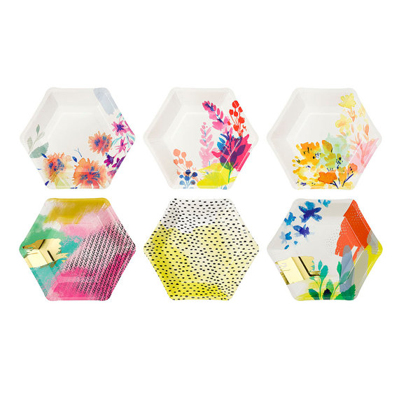 hexagon party plates for modern wedding by itspartyparty