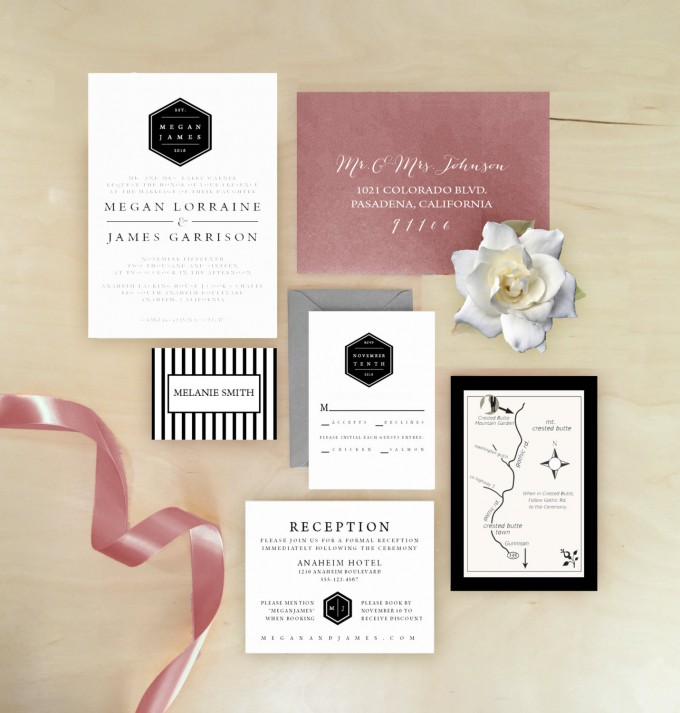 hexagon wedding invitations by paperplumco