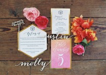honeycomb hexagon theme wedding invitation large by GubbaGumma